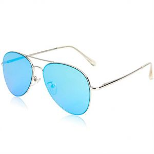 782293232b SOJOS Classic Aviator Mirrored Flat Lens Sunglasses Metal Frame with Spring  Hinges - Blue Lens