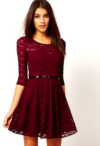 Women Lady Spoon Neck 3 4 Half Sleeve Lace Skater Dress Mini Dress Belt  Include Vintage Dresses Wine Red Size L c64b83045493c