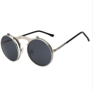 560c7444d Flip Up Steampunk Sunglasses Men Women Round Vintage Sunglass Fashion  Designer Fashion Glasses UV400