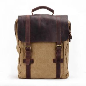 96b58cb7eda4 Fashion canvas and cowhide backpack men s backpack handbag computer bag  Students  love bags tablet bags men s and women s backpack -32X11X40CM