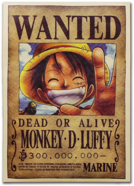 Anime one piece pirates wanted posters style new big size one piece posters ace souq uae - One piece wanted luffy ...