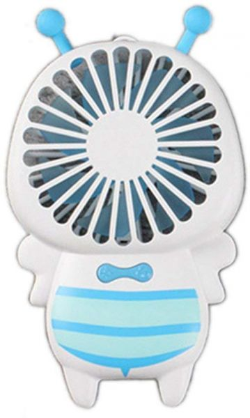 Handheld USB Cooling Fan LED Light Bee Shape Mini Home Office Air Cooling Fan USB Rechargeable Summer Cooler for Car Office Household Yellow