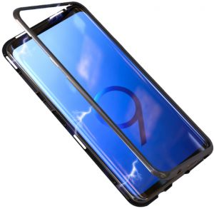 6f3519f277684 Metal filp Magnetic Adsorption phone Case For Samsung Galaxy S9 Plus Glass  Magnet case cover