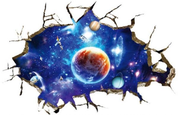 3d window outer space large planet wall stickers galaxy wall decal