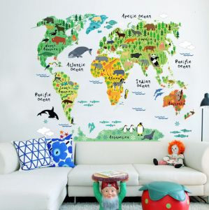 Colorful World Map Removable Wall Sticker Mural Decal Vinyl Art Kids