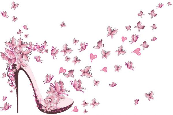 3D wallpaper pink butterfly high heeled shoes Girl princess room ...