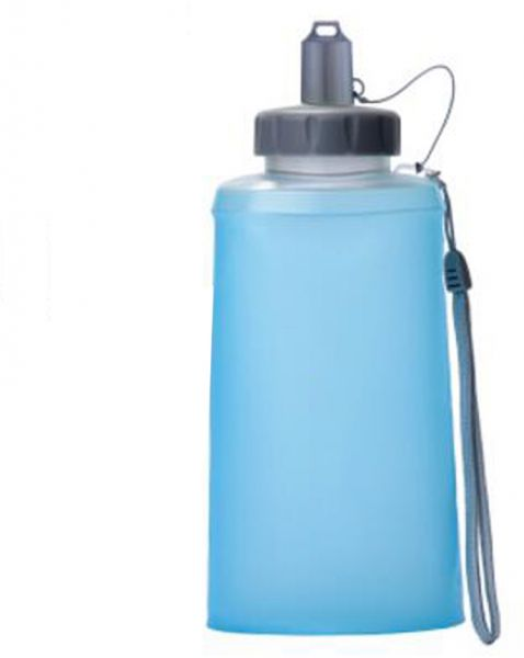 Silicone Cup Folding Outdoor Portable Soft Water Bag Riding Hiking Kettle Blue