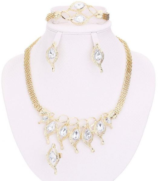 Accessories Sets Summer Style Crystal Gold Plated Bridal Necklace Bracelet Earrings Rings Set, Clear