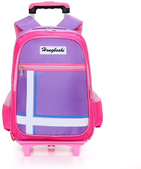 d5a0838a592b Y D Kids s Trolly Bag Set 2Pcs Multifunctional Plain Style Detachable  Double Wheel Solid Color Waterproof School Backpack Set Purple