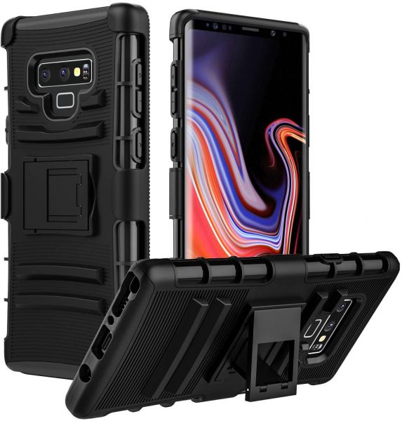 sports shoes 52eed b49c5 Galaxy Note 9 Case, MoKo Shock Absorbing Hard Cover With Kickstand &  Holster Belt Clip Black