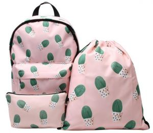 d480d97318 3PCS  set 3D Printed Cactus Women Shoulder Backpack Water Resistant Laptop  Backpack Teenage Girls Drawstring Bagsfor Outdoor Sport Teenager Causal  Laptop ...