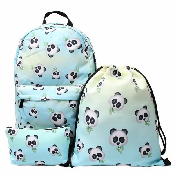 e8e2fdb04c 3PCS  set 3D Panda Bamboo Printed Backpack Travel Students Polyester Cute  Women Girl School Shoulder Bag Backpack Purse for Outdoor Sport Teenager  Causal ...