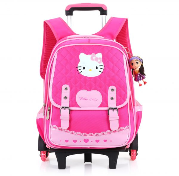 8c58a42788cb Y D Kids s back to school Trolly Bag Multifunctional Detachable hello kitty Pattern  Waterproof Two Wheels School Backpack Pink Color
