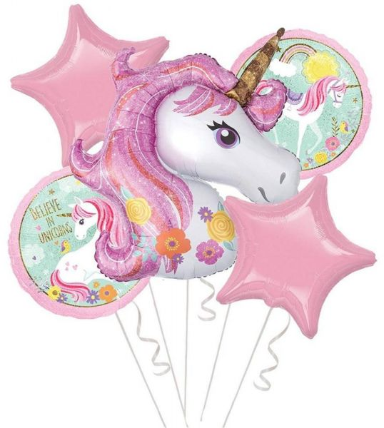 5pcs Set Unicorn Balloon Party Supplies Banner Paper Tassel Garland For Birthday Decorations Air Ball Favors Baby Shower Foil