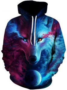 3af8bbdab5 Colorful Starry sky wolf Hoodies For Women Men fashion Streetwear Clothing  Hooded Sweatshirt 3d Print Hoody casual Pullover mm
