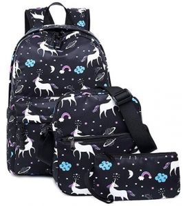 138d119858f Teen Girl School Backpack with Lunch Box Pencil Case 3 in 1 Canvas Student  Book Bag Laptop Bag Set Women Travel Backpack for Elementary Middle School