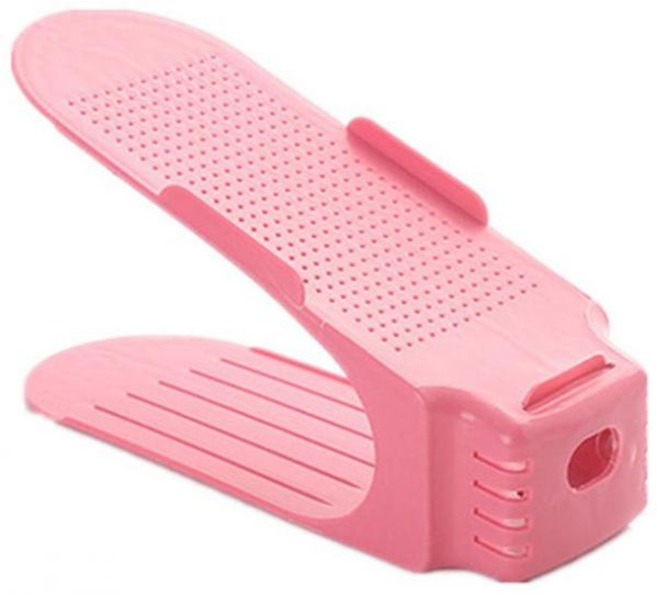 Pink Shoe Slot , 3 Step Adjustable Shoe Slots Organizer and Shoe Organizer Space Saver for All Size Shoe