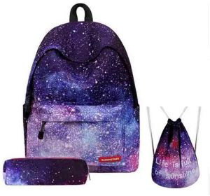 f710aa4eb9e3 Women Backpack for Teenage Girls 3PCS set School Backpack Bag Stars  Universe Space Printing Canvas Female Backpacks for College Students Soft  Handler ...