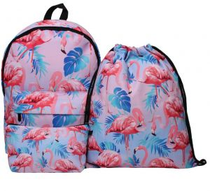 d7538c7dd1 3PCS  set Women Printed Flamingo Backpack School Bags For Teenage Girls  Shoulder Drawstring Bags Travel Students Polyester Women Girl Shoulder Bag  Backpack ...