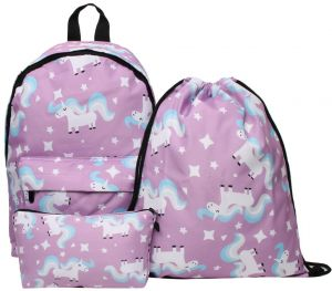 412ce928b1c2 3PCS  set Colorful Women Printed Unicorn Backpack School Bags For Teenage Girls  Shoulder Drawstring Bags Travel Students Polyester Cute Women Girl Shoulder  ...