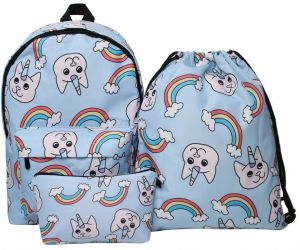 3PCS  set Colorful Women Printed Unicorn Backpack School Bags For Teenage  Girls Shoulder Drawstring Bags Travel Students Polyester Cute Women Girl  Shoulder ... 0510c8eecdd0d