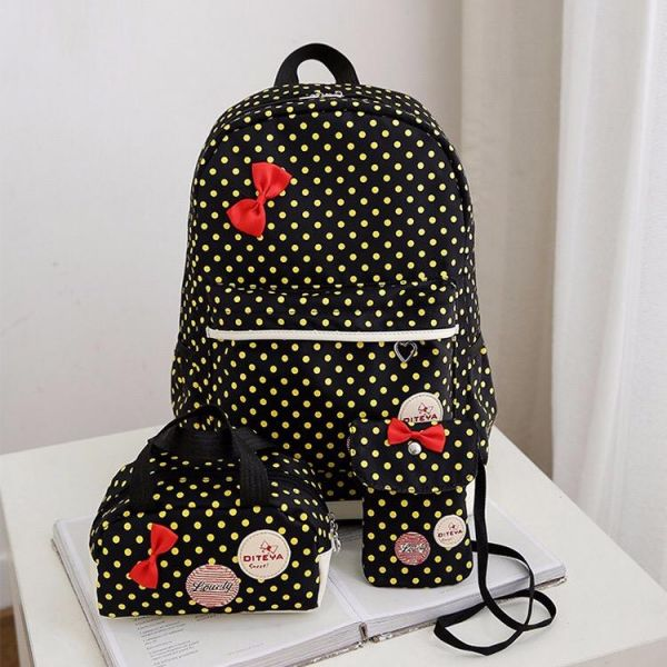 255f83b95901 Y D back to school 3 Pcs Dots and bow Pattern Preppy Style Durable Kids  school Backpack Set black color
