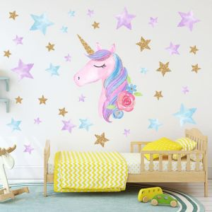Colorful Unicorn Wall Decals For Kids Room Vinyl Peel And Stick Wall