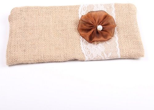 Burlap Bride Clutches With Flower For Wedding Decoration Gift Bags