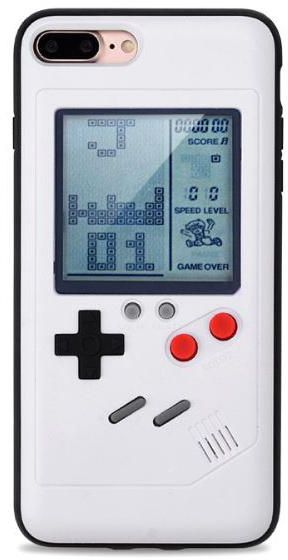 Wanle Gameboy Mobile Cover with Tetris Game Installed for iPhone 7 8plus -White