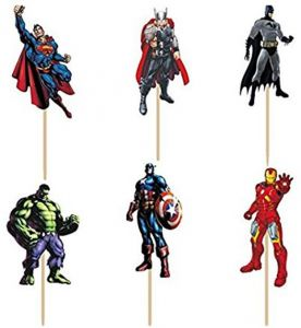 Pack of 24 Super Heroes Avenger Cupcake Toppers Picks birthday party decorations kids boy's party supplies favors gifts