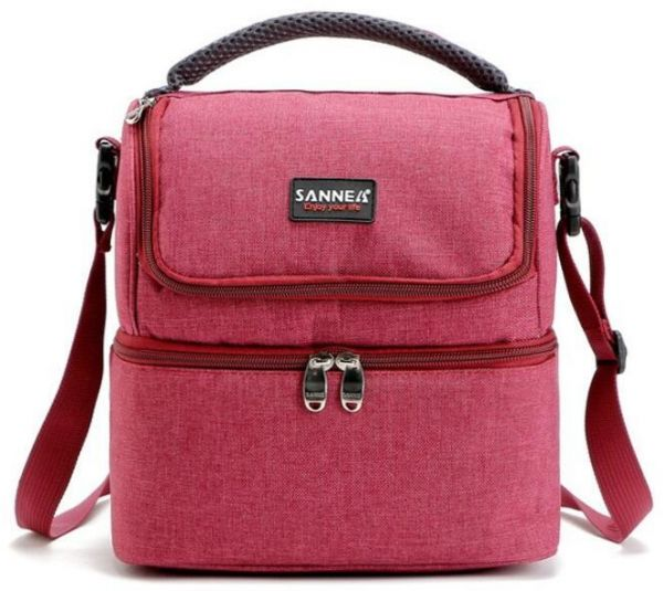 SANNE 5L Double Decker Cooler Lunch Bags Insulated Solid Thermal Lunchbox Food Picnic Bag Cooler Tote Handbags for Men Women Red | السعودية | سوق