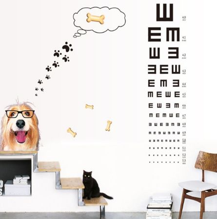 Eye Chart Cute Glasses Dog Wall Sticker Self-adhesive Wallpaper Vision  Inspection Table Kid's Room Wall Stickers Home Decal, ee