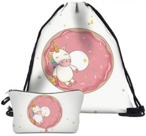 Drawstring Bag With Cosmetic 2 In1 School Backpack Cartoon Gift Candy Bags Pouch Treat Goodie Kids Girls Boys Birthday