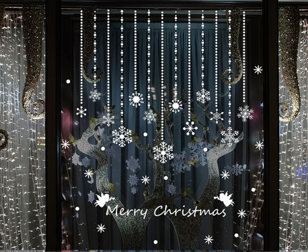 Christmas Snowflake Ornament Shop Window Glass Christmas Background