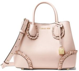 e5fa4472108a ... denmark michael michael kors mercer gallery small ruffled leather  satchel soft pink 18d34 3be9a ...