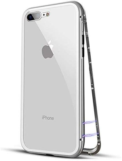 on sale 616fd 05cc4 iPhone case for iPhone 7 iPhone 8 with Magnetic Adsorption Tempered Glass  iPhone Cover Silver