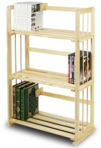 Furinno FNCL 33001 Pine Solid Wood 3 Tier Bookshelf