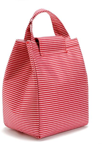 Insulated Lunch Bag Thermal Stripe Tote Bags Cooler Picnic Food Lunch box bag for Women Girls Ladies Kids Children For School work Office & Ourdoor