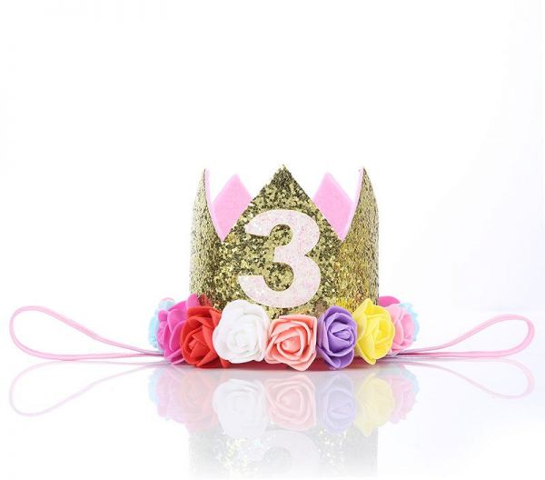 Baby Girl Third Birthday Party Hat Decorations Hairband Princess Queen Crown Lace Hair Band Elastic Head Wear Gifts For Kids