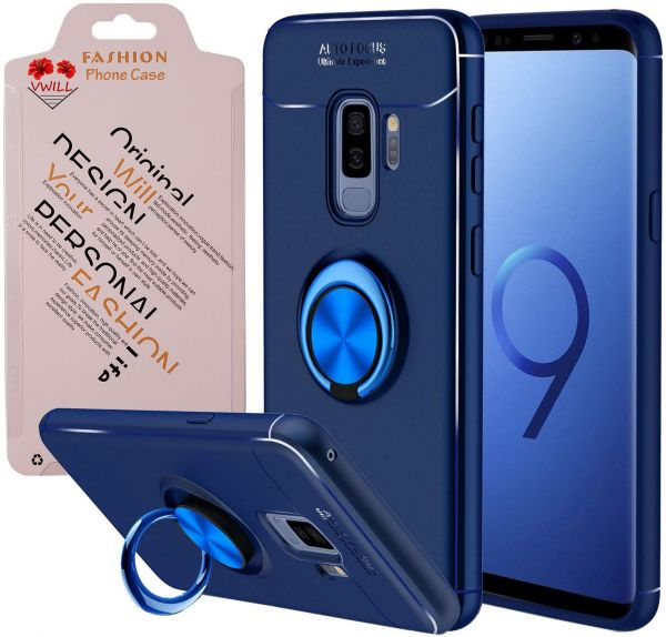 Soft TPU Case Cover For Samsung Galaxy S9 Plus Ring Kickstand Case Support Magnetic Car Mount