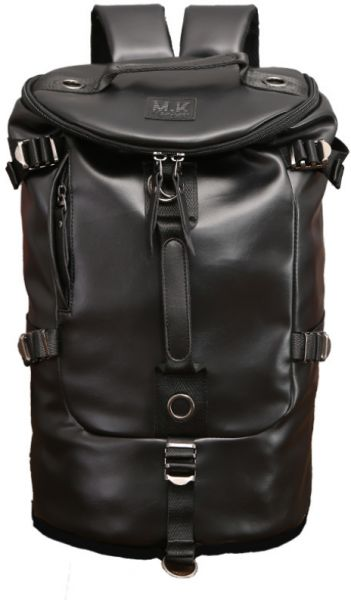 5e602b37d0 Men women Fashion Big Cylindrical backpack leather Leisure Travel ...