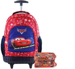 Mqueen Kids  Rolling Latop School trolley Backpack with one set stationery  17inch 3-12years old c139992ef547f