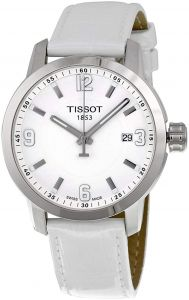 Tissot PRC 200 Men s White Dial Leather Band Watch - T0554101601700 4b8dcd43281