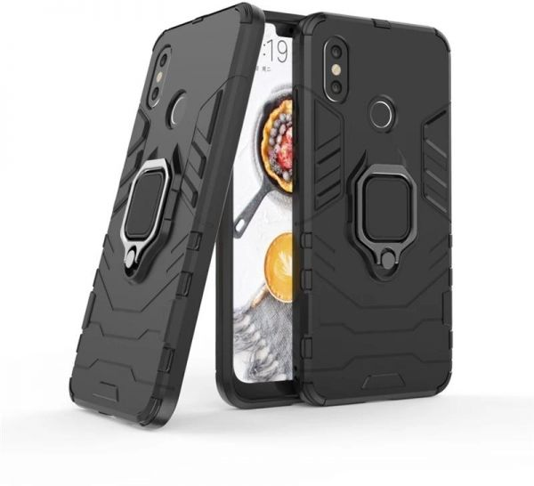 release date: 4b1b9 d6b0c xiaomi Mi A2 lite / redmi 6 pro armor iron man case cover with magnetic  holder ring stand black