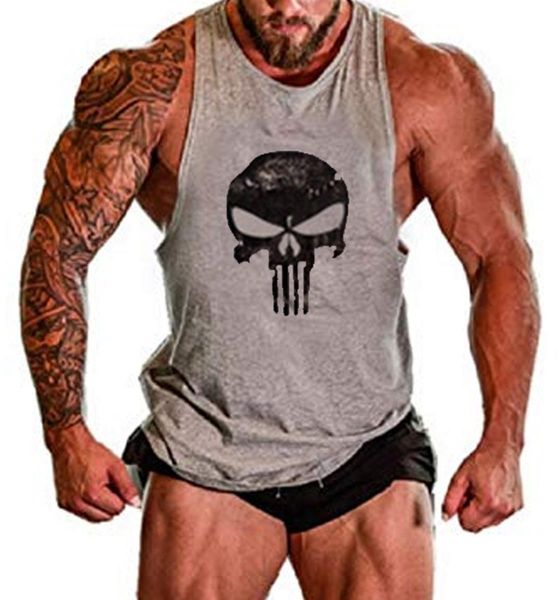 f86f2546e07f70 The Punisher Skull muscle sleeveless gym fitness shirt vest in Grey ...