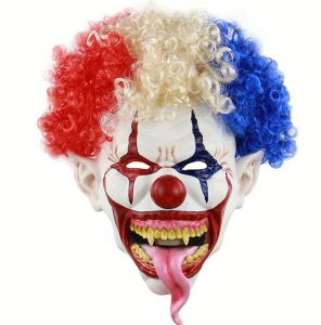 Halloween Mask Scary Clown Latex Full Face Mask Big Mouth Red Nose Cosplay Horror masquerade mask Ghost Party Prop mm