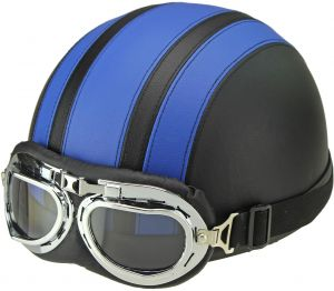 3e2ffdb97f6 Blue Motorcycle Scooter Open Face Half Leather helmet with Visor UV Goggles  Retro Vintage Style