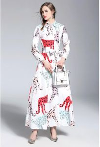 01573d11570 Y D Women s A Line Dress Floral Patchwork Animal Bow Decor Shirt Neck long  Sleeve Maxi Dress Multi Color