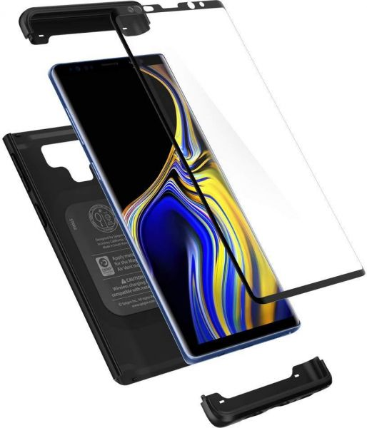sneakers for cheap 63815 f3dfe Samsung Galaxy Note 9 Case , Spigen Thin Fit 360 Case with Exact Slim Full  Protection and Tempered Glass Black