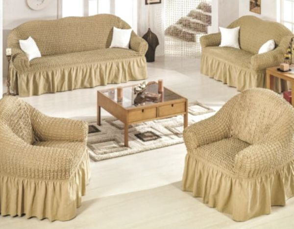Fabulous Color Sofas Covers Set Turkish Model 4 Pieces Consist Of 1 Sofa Cover For Three Seater 1 Sofa Cover For Two Seater And 2 Chair Covers Golden Gmtry Best Dining Table And Chair Ideas Images Gmtryco